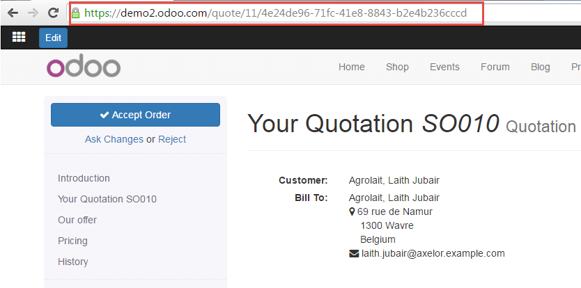 How to create and edit an online quotation Odoo Business 01 – Website Quotation