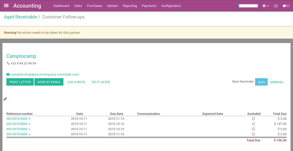 How To Get Paid And Organize Customer Followups Odoo Business - Open invoice statement