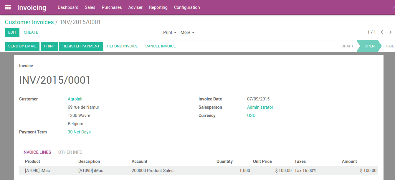 from invoice to payment collection odoo business documentation accounting entries corresponding to this invoice are automatically generated when you validate the invoice you can see the details by clicking on the entry