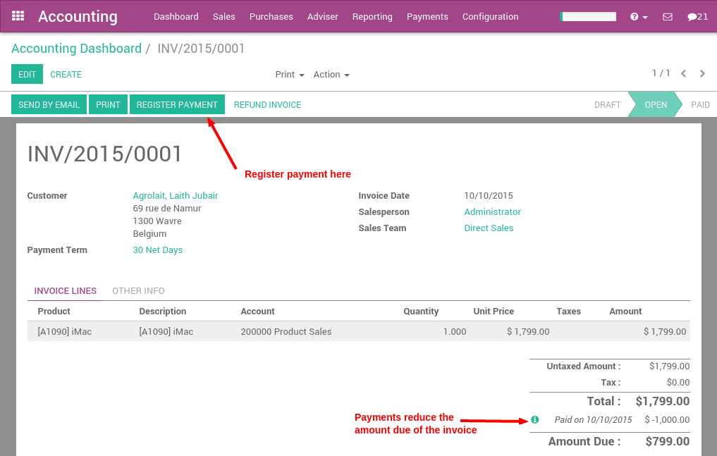 what are the different ways to record a payment odoo business 0 1